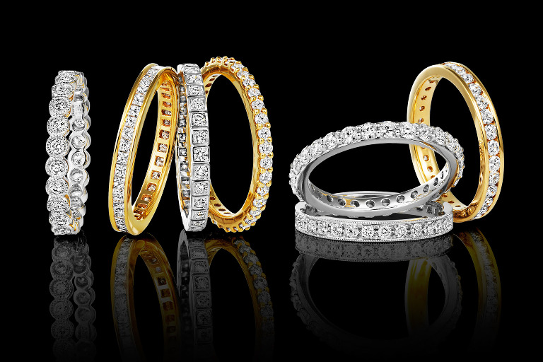 Jewellery photography eternity ring group