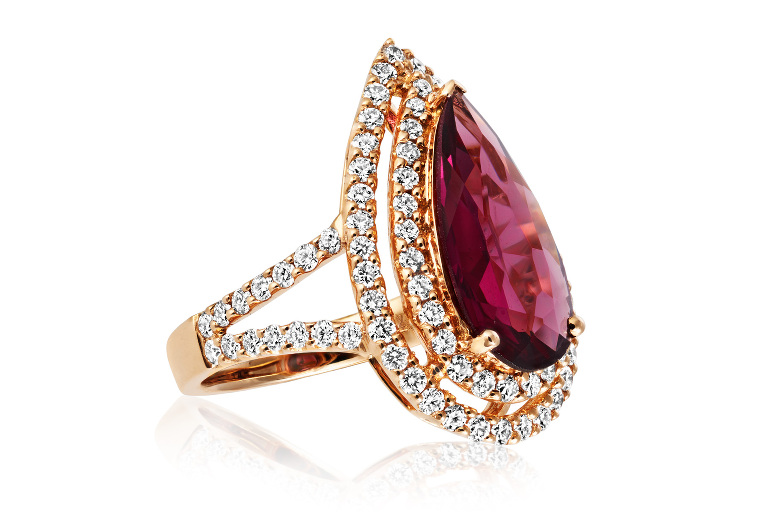 Rhodalite, diamond and rose gold ring. Jewellery photography and retouching by Tony May.