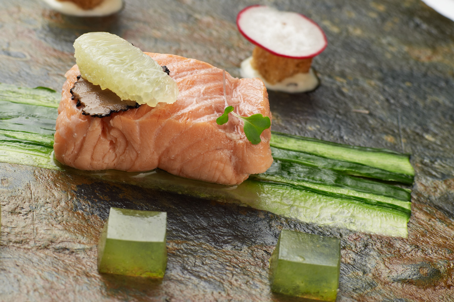 Salmon with cucumber jelly, food photography for 1885 The Restaurant