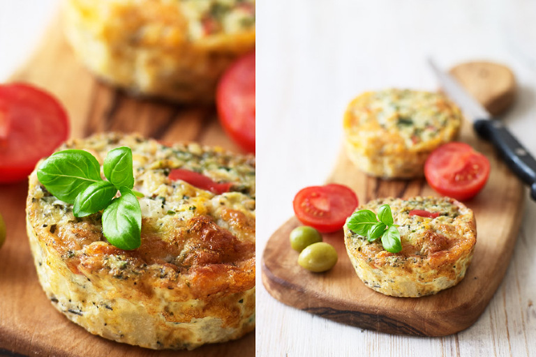 Frittata of italian cheese, fresh herbs and red peppers