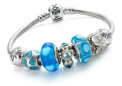 Pandora bracelet, blue murano glass beads and silver