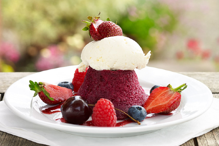 Summer Pudding at Newby Hall Garden Restaurant and Cafe. Food photography by Tony May