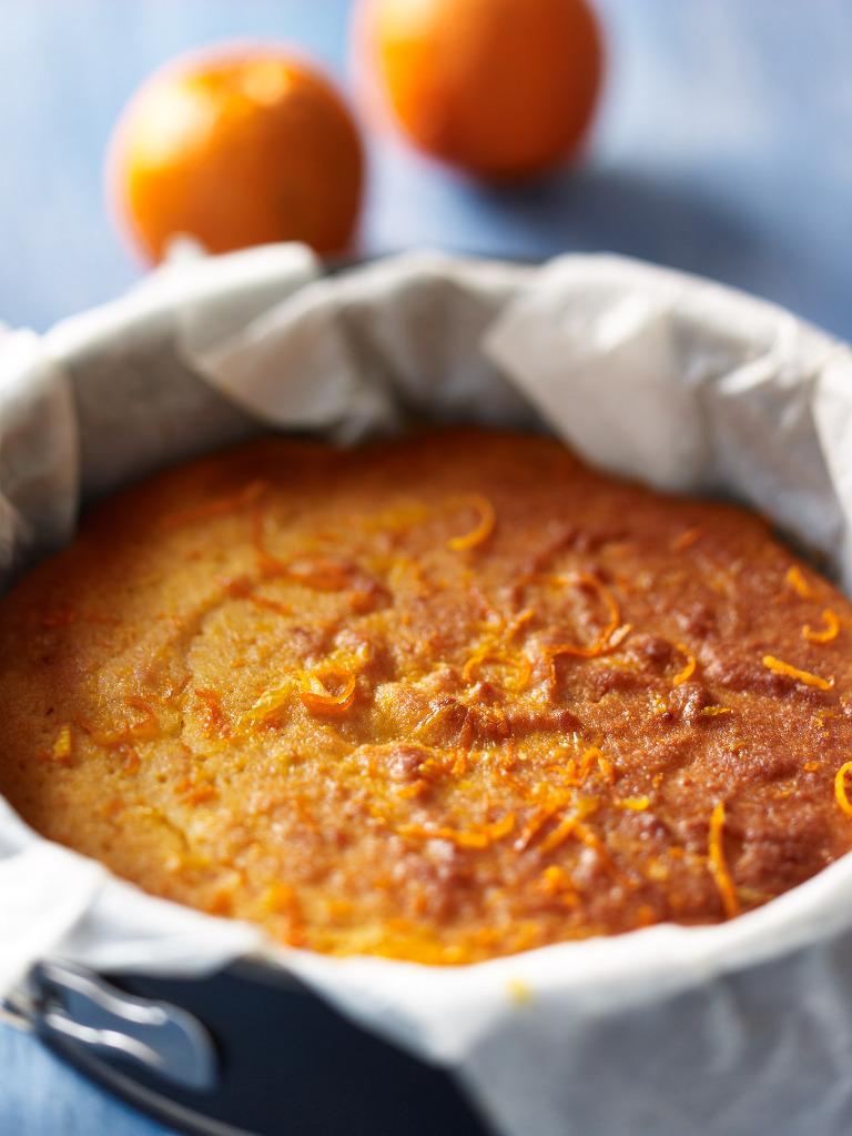 Orange polenta cake natural food photography by Tony May.