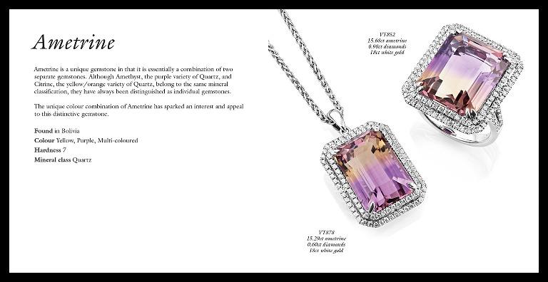 Jewellery brochure ametrine spread, design, photography and retouching
