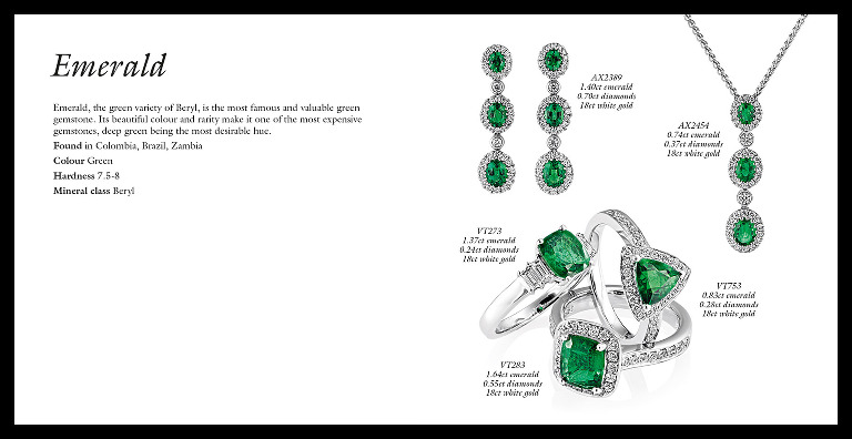 Jewellery brochure emerald spread, design, photography and retouching