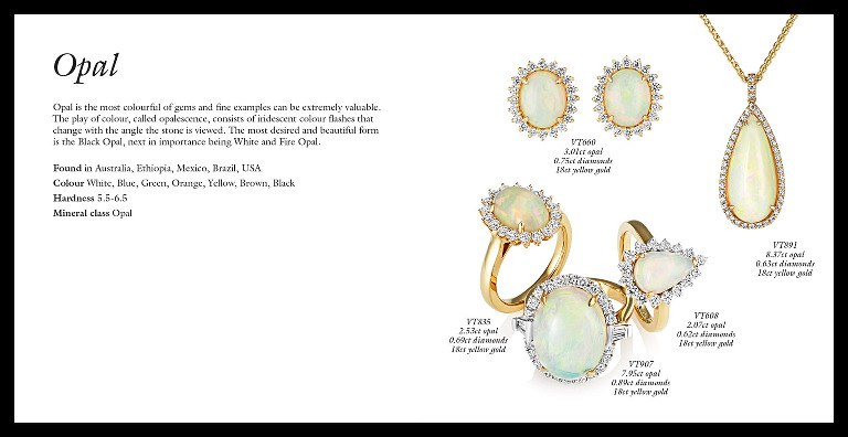 Jewellery brochure opal spread, design, photography and retouching