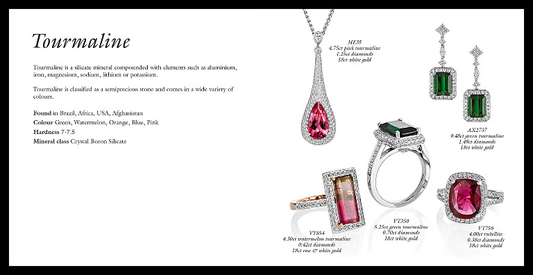 Jewellery brochure tourmaline spread, design, photography and retouching