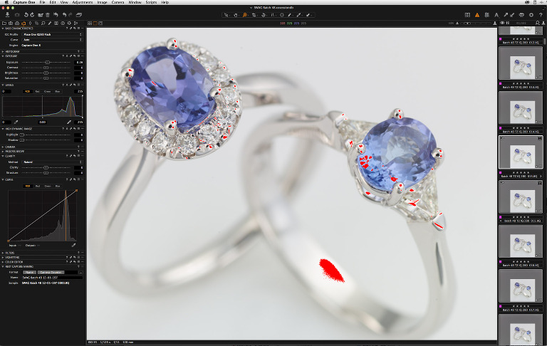 The Exposure Warning tool provides a very useful way of judging if exposure is maximised when adjusting lights, without losing fine detail in gemstones.  With the Exposure slider it's a quick way of anticipating the effect on highlights of adjustments to the power levels of studio lights, when shooting tethered.