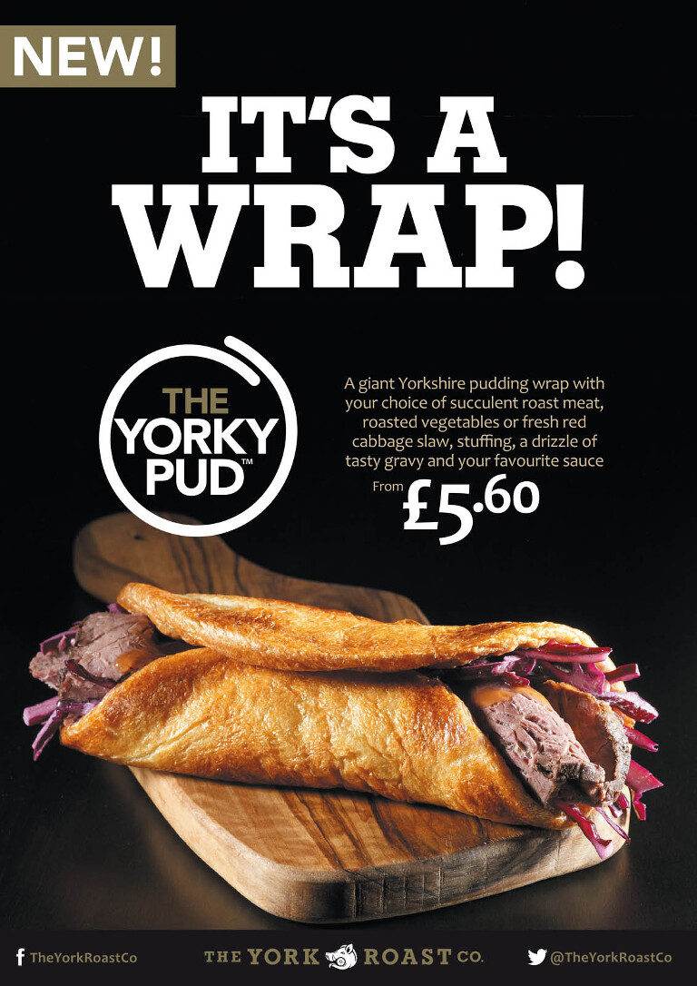 It's a Wrap! Yorky Pud Wrap on olivewood board, dark background.