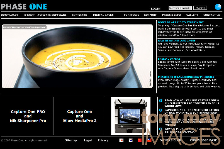 Phase One website features photographer Tony May