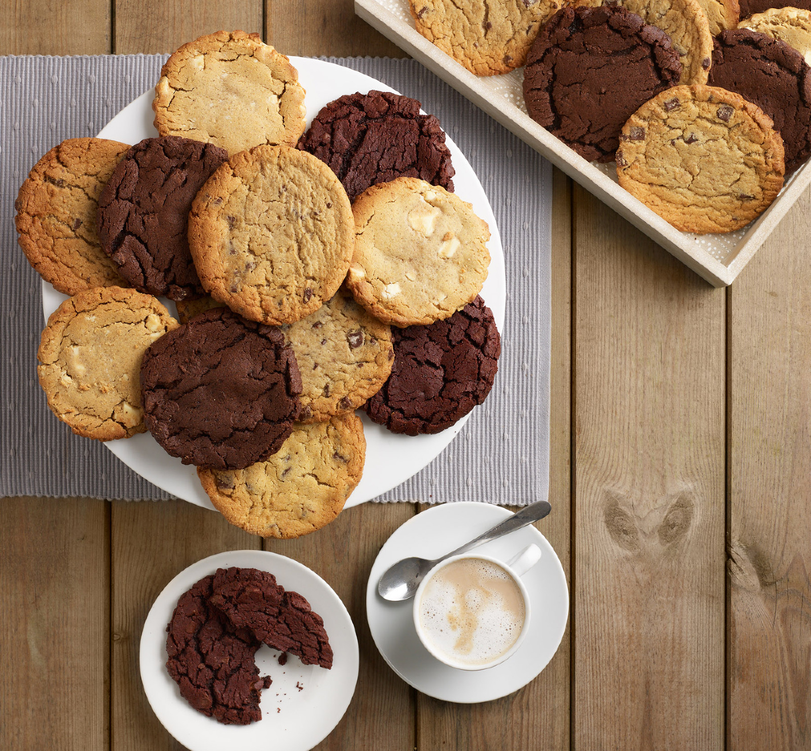 Cookies served on wooden table