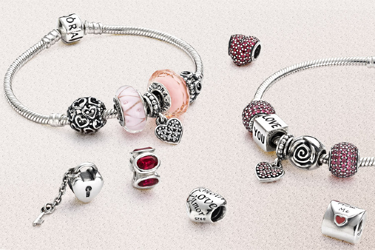 Pandora Valentine Love themes bracelet group jewellery photograph