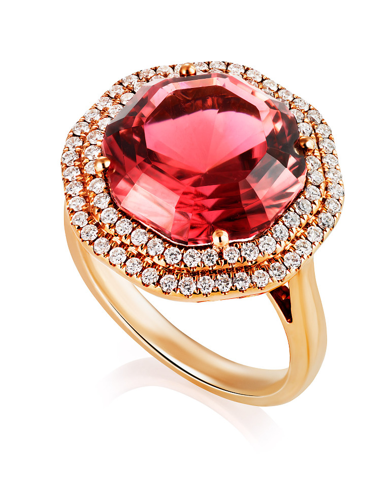 Pink Tourmaline ring by jewellery photographer Tony May