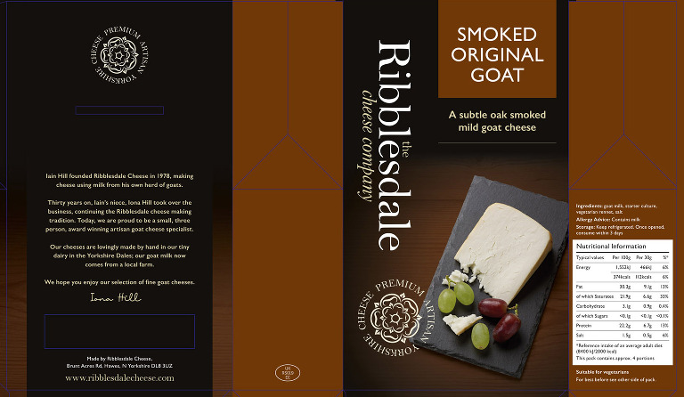 Packaging artwork for Ribblesdale Smoked Goats Cheese.
