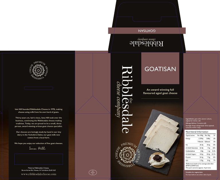 Artwork design for Ribblesdale Goatisan cheese pack.