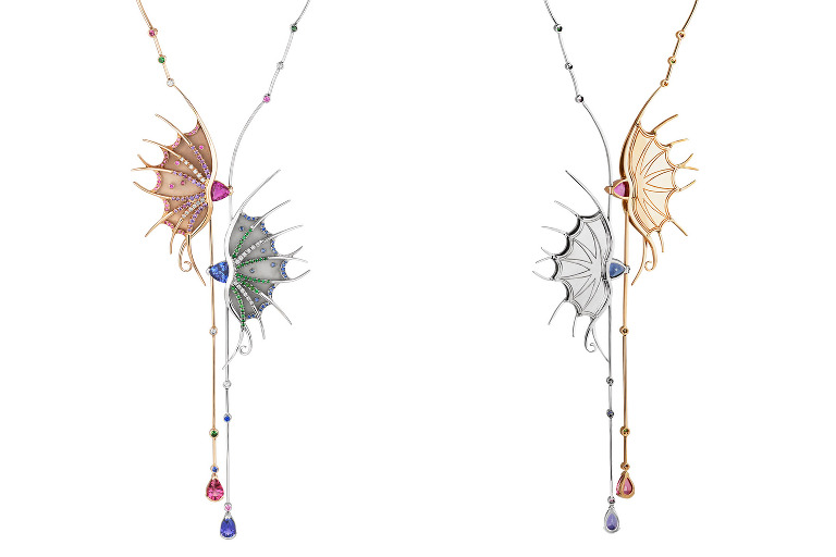 Front and rear views of gemstone necklace